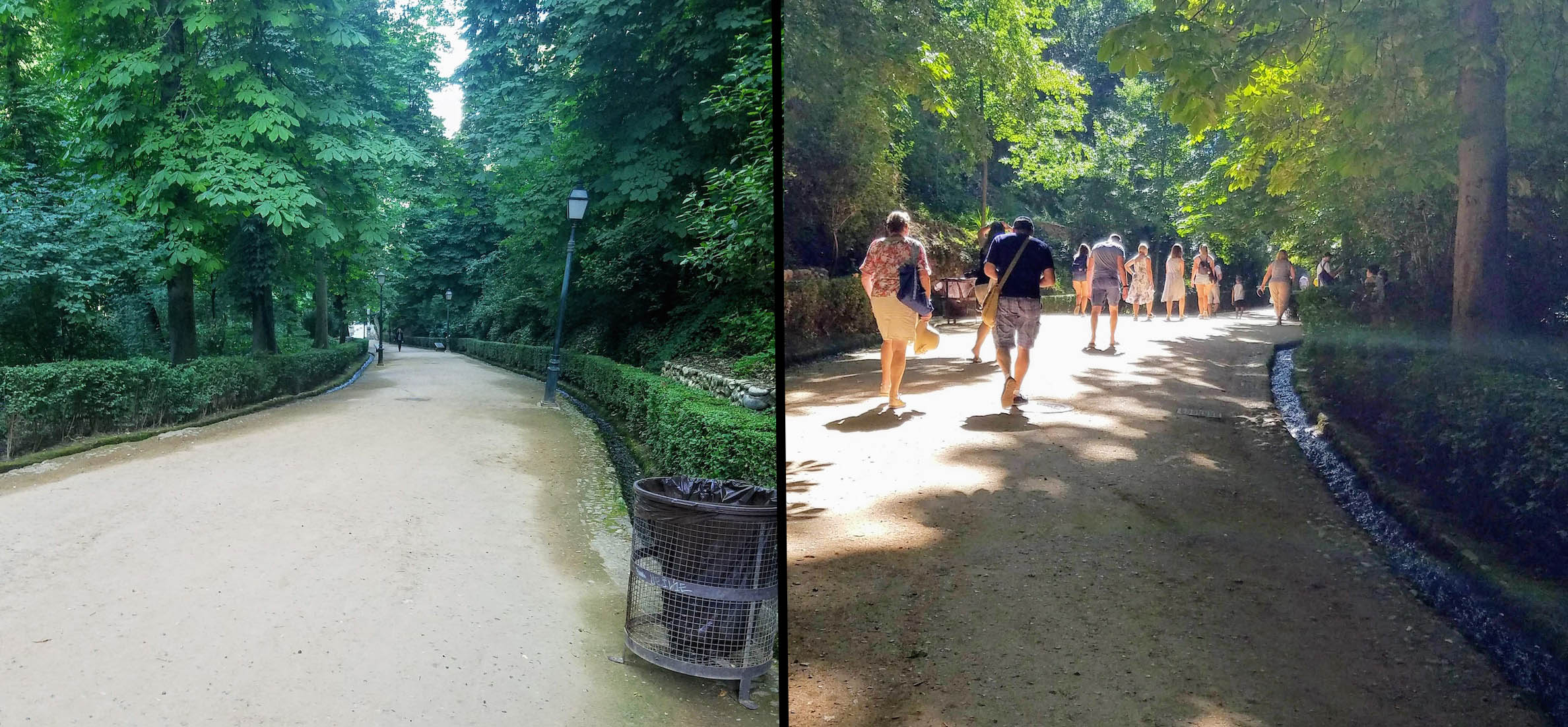 The same pathway up to the Alhambra shortly before 9am, and then later at 12:30pm, to give you an idea of how crowded it can get later in the day