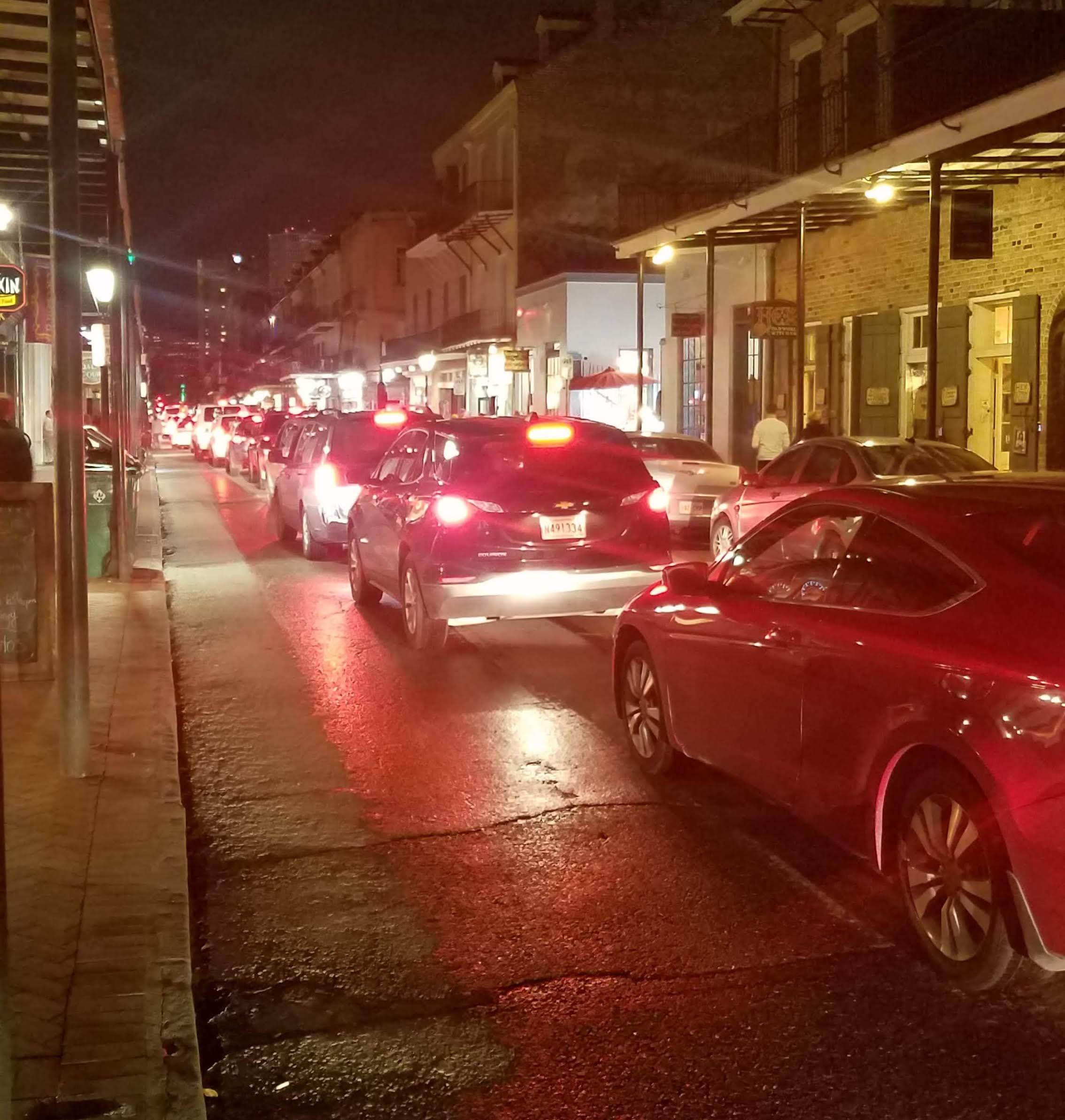 French Quarter traffic on a Friday night