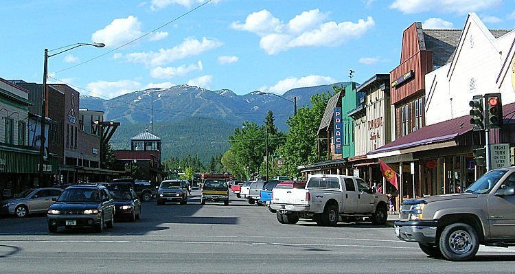 Lovely downtown Whitefish. Traffic is accurate.