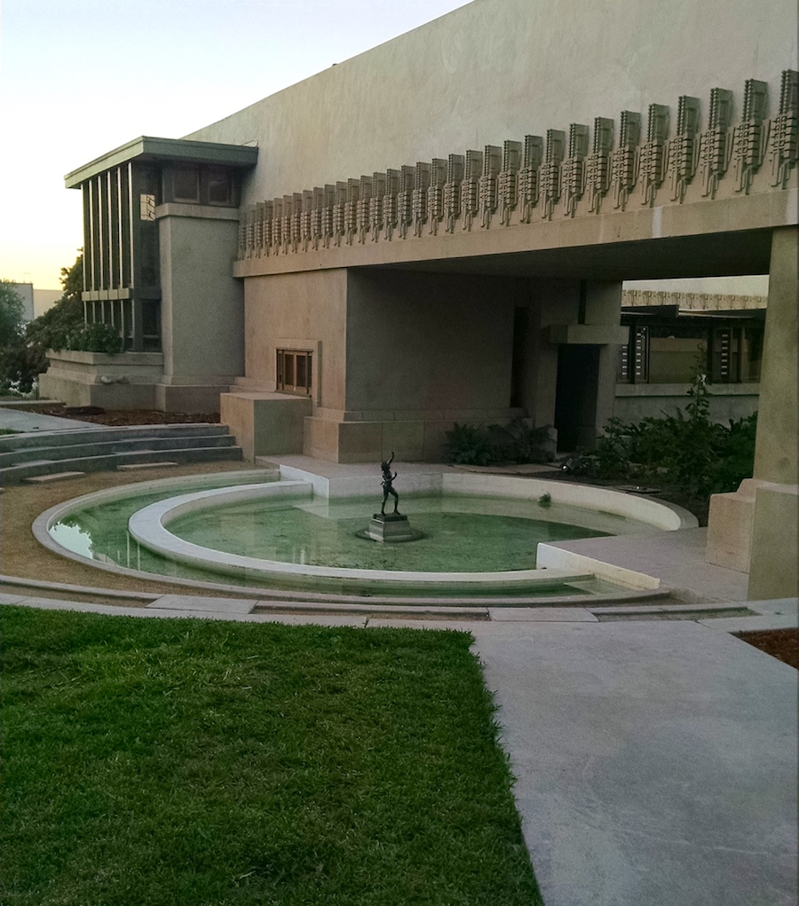 The exterior of the Hollyhock House in Barnsdall Park.