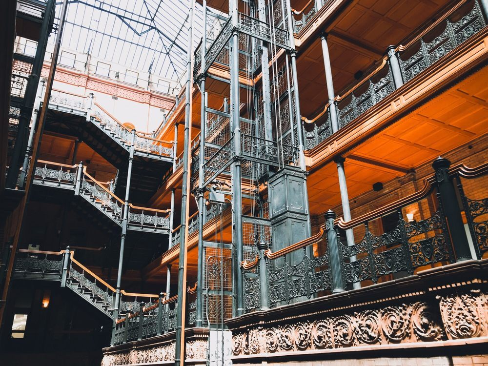 The iconic Bradbury Building Lobby
