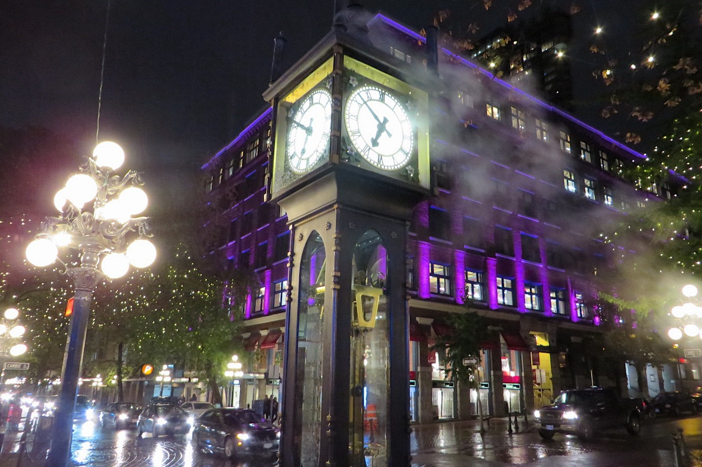 the famed Gastown clock in the evening mists…