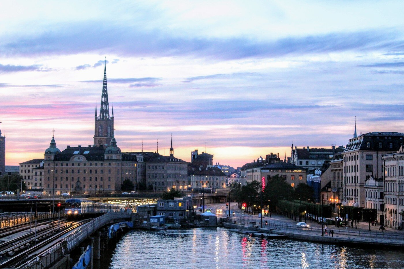 The view toward Gamla Stan at sunset
