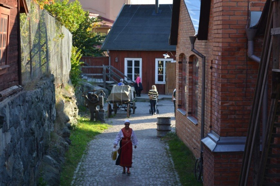 A view down one of the lanes of Skansen