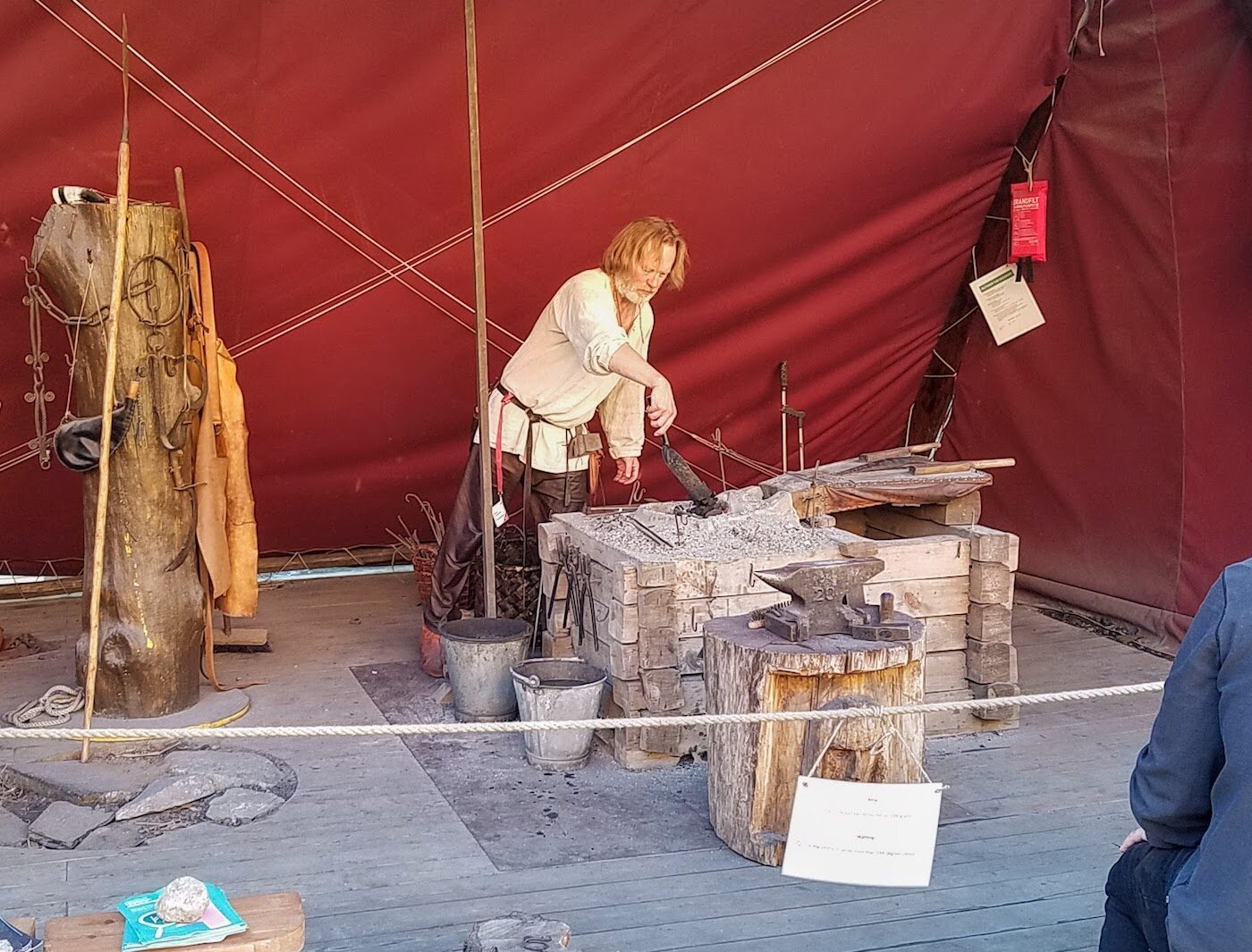 Demonstrating Viking-era blacksmithing at the Swedish History Museum