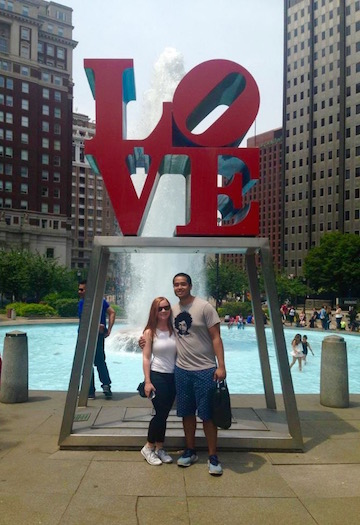 Our cheesy picture at Love Park on our first trip.