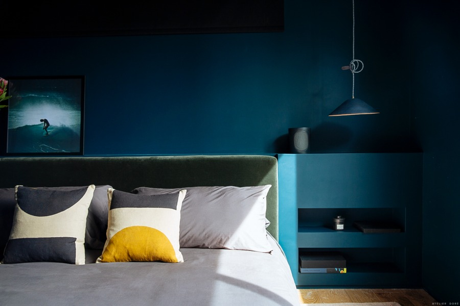Rich blue-green hues were chosen for this bedroom - with the intention of creating a sanctuary for sleep.