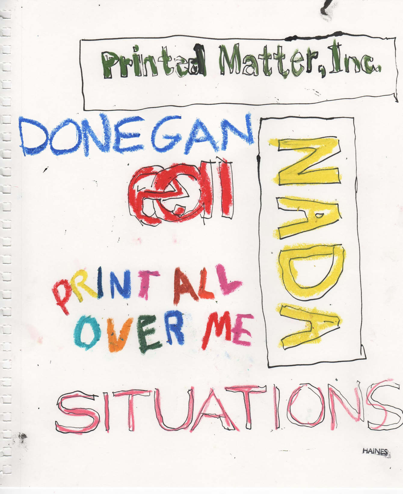"SITUATIONS presents:   Cheryl Donegan Zine Launch with Live drawing by Richard Haines   Thursday, November 19, 6-8 PM at Printed Matter  SITUATIONS and Printed Matter are pleased to present a special zine launch for artist Cheryl Donegan with live drawing by illustrator Richard Haines at Printed Matter on Thursday, November 19, 2015, from 6:00–8:00 PM.  The new zine features Donegan's fashion-forward collection, Broken Gingham, originally presented at NADA New York in May 2015 in Contemporary Fashion, a hybrid fashion show/performance, with live drawing by fashion illustrator Richard Haines. The collaborative project was curated by artist Sam Gordon. For the evening at Printed Matter, raw footage from the performance will be screened with support from Electronic Arts Intermix.  Donegan developed and produced the Broken Gingham collection with PAOM (Print All Over Me), an online platform and creative community to create, share, sell, produce, buy, and design clothing. For the collection, she explores her concept of ""being-on-the-surface"" and the ""quotidian, fluid relationship between the tactile world and the virtual one"" through her playful engagement with fashion, textiles, texture, pattern, and layering. Donegan scanned gingham fabrics and uploaded the images into PAOM's online templates. The gingham patterns are transformed further once they are printed and mapped onto the physical garments and worn on bodies—giving the two-dimensional texture of gingham volume and spatial dimension.  For the performance at NADA New York, Donegan combined clothing from the collection with garments from her own closet and pieces owned by the models. The presentation also featured a selection of new and recent NADA x PAOM garments by artists Sarah Braman, Bjorn Copeland, Daniel Heidkamp, and Amy Yao.  SITUATIONS is a fluid and expansive curatorial project founded in New York City in 2015 by artists Sam Gordon, Jackie Klempay, Mariah Robertson, and Jacob Robichaux."