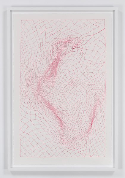 untitled, 2014  18 K gold thread and thread on paper 40 1/4 x 26 in. unframed 43 3/4 x 29 in. framed