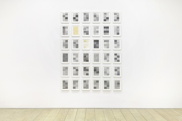 installation view  untitled, 2015 36 thread on paper works each 13 x 9 1/4 in. framed total installation: 92 x 70 in.