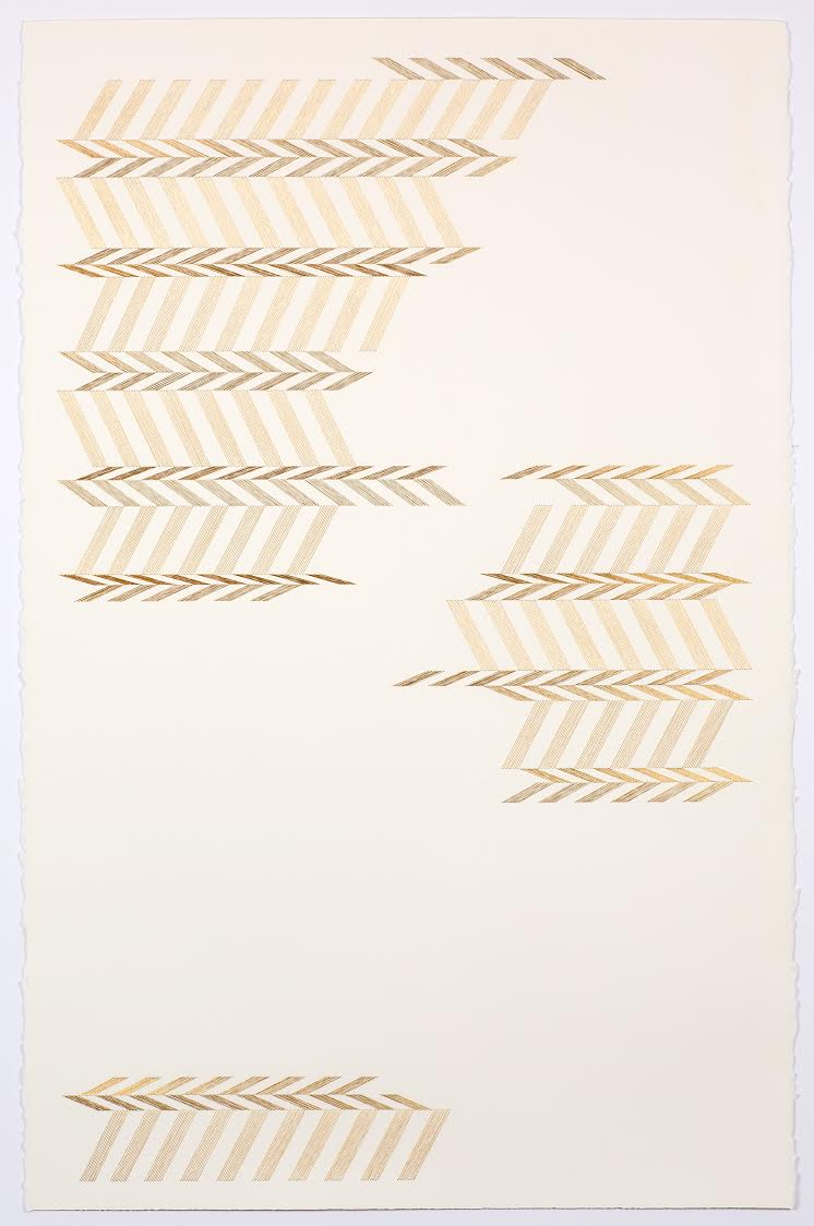 untitled, 2016  18 K gold thread on paper 40 1/4 x 26 in. unframed
