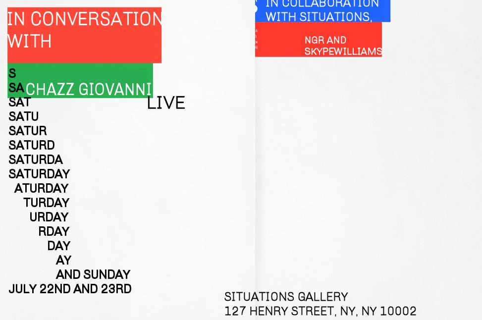 In Conversation with Chazz Giovanni sees the artist talking about his past and present work, influences, creative process and more.