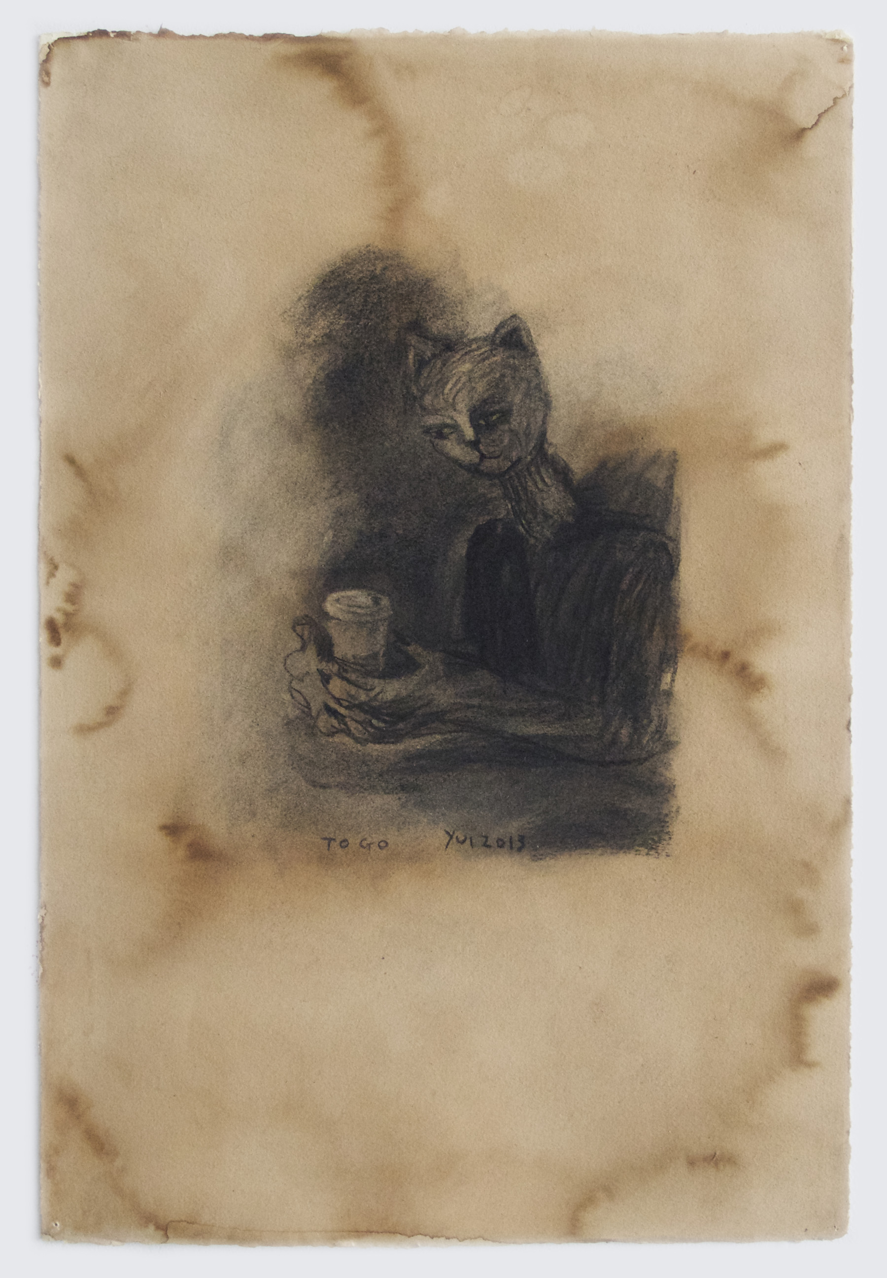Yui Kugimiya  To Go, 2013  Charcoal and coffee on paper  22 x 15 inches