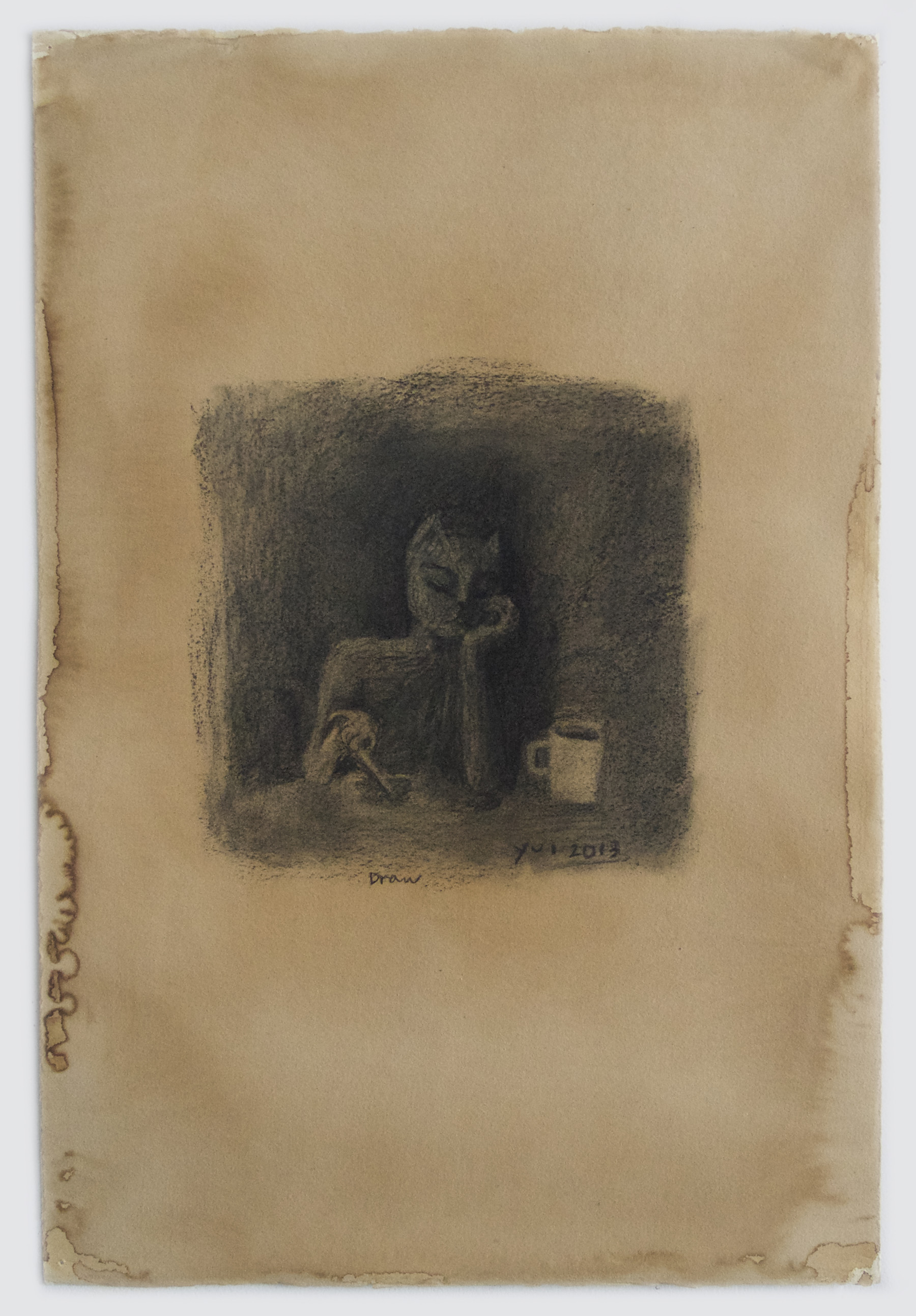 Yui Kugimiya  Draw , 2013  Charcoal and coffee on paper  22x15 inches