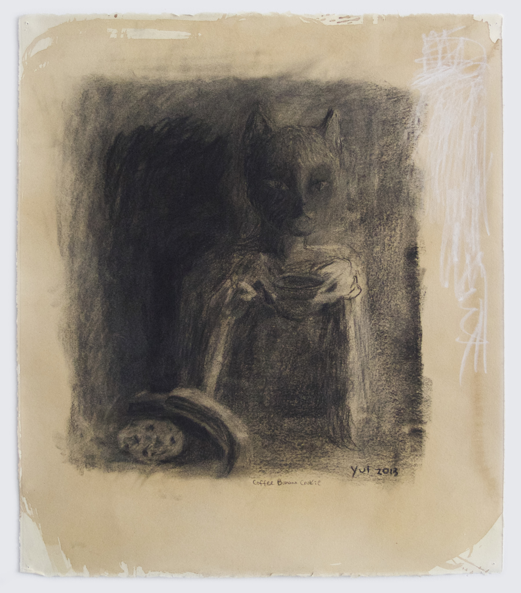 Yui Kugimiya  Coffee Banana Cookie, 2013  Charcoal, pastel, graphite and coffee on paper  22 x 19 inches