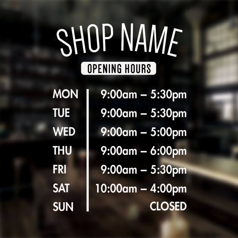 Store Front Lettering - Hours, Logos, Services/Products