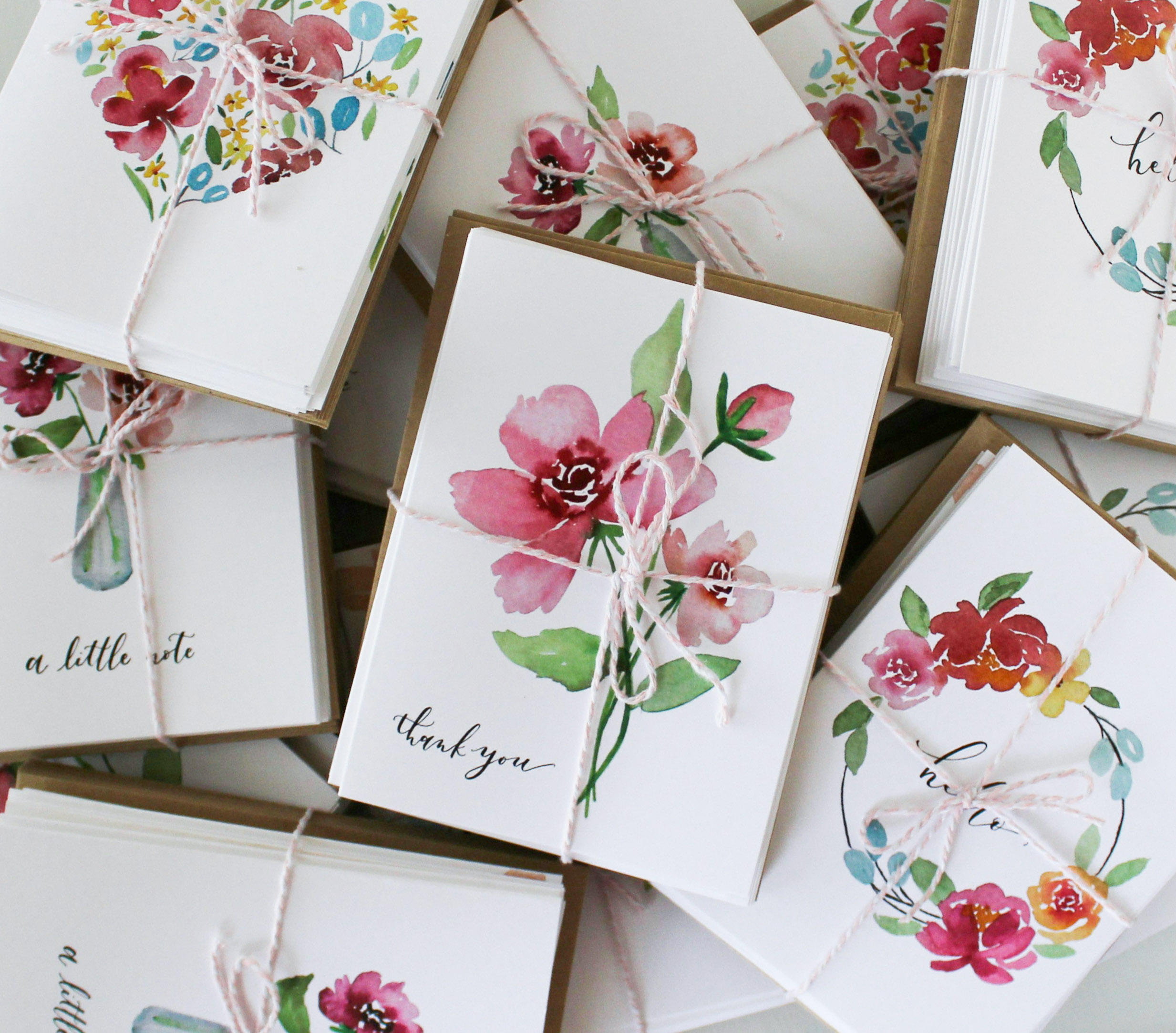 Floral Watercolor Note Cards