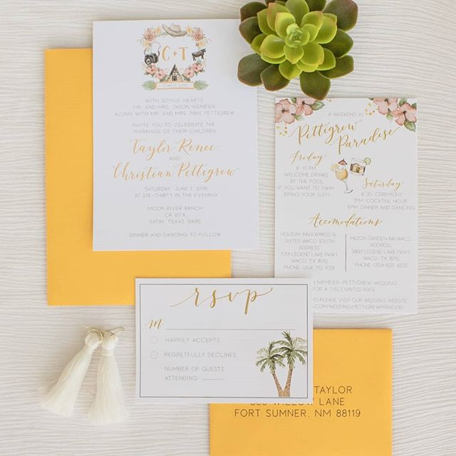 This. Wedding. Suite. 😍😍😍 (All the heart eyes.) . I just LOVE all the fun details and colors of this suite!! We were going for a tropical paradise feel, and I must say, I think we nailed it🌴🌺 and how cute is the little cow and cowboy hat in the crest? Christian is a rancher and we wanted their crest to reflect that! . Wedding invitations are the first impression your guests have of your wedding, so why not make them fun?😍 I'd love to design your invitations! You can get more information about the process by filling out the form on my website, link in bio🌺🌴😍