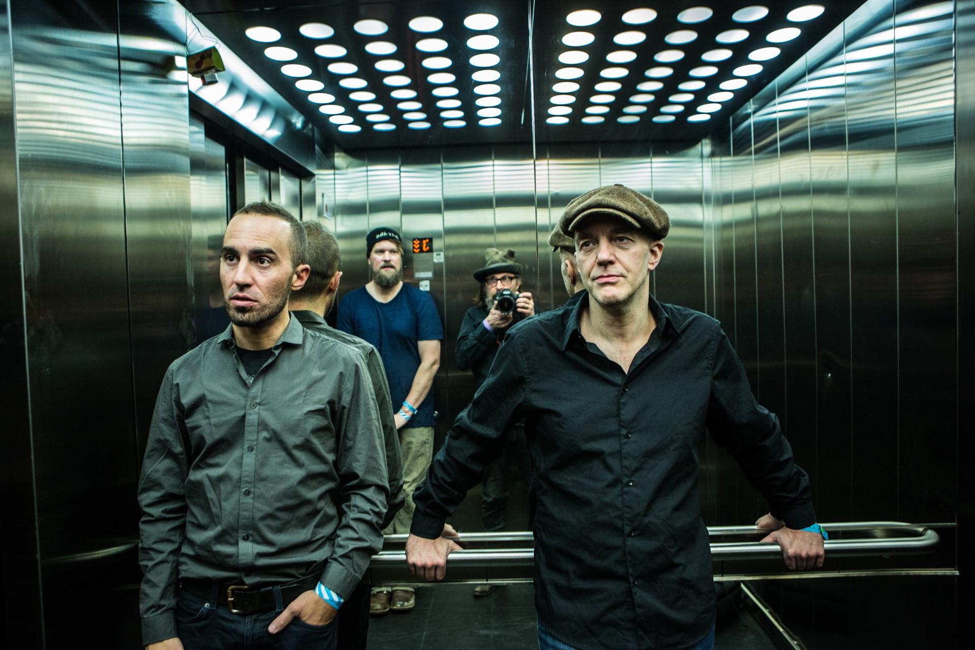 John Grant band in elevator at Harpa concert hall