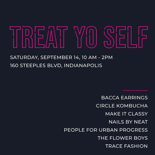 Come see us at PUP's Treat Yo Self market! Follow in Tom & Donna's shoes and #treatyoself [the local/ethical/sustainable way]⠀⠀⠀⠀⠀⠀⠀⠀⠀ .⠀⠀⠀⠀⠀⠀⠀⠀⠀ .⠀⠀⠀⠀⠀⠀⠀⠀⠀ .⠀⠀⠀⠀⠀⠀⠀⠀⠀ .⠀⠀⠀⠀⠀⠀⠀⠀⠀ .⠀⠀⠀⠀⠀⠀⠀⠀⠀ @peopleforurbanprogress @bybacca @makeitclassy_ @nailsbyneat  @flowerboysindy @circlekombucha #drinkcircle #fashionrevolution #bybacca #tracefashion #remakethefuture #indy #indianapolis #shoplocal #localindy #indianapolismarket #giveaway #selfcare #shop #shopindy #madeinindy #madeinusa #local #ethicalshopping #consciousshopping #consciousconsumer #consciousconsumerism #consciousliving #sustainable #sustainableliving #sustainableshopping #ecofashion #sustainablefashion #consciouscloset #consciousfashion