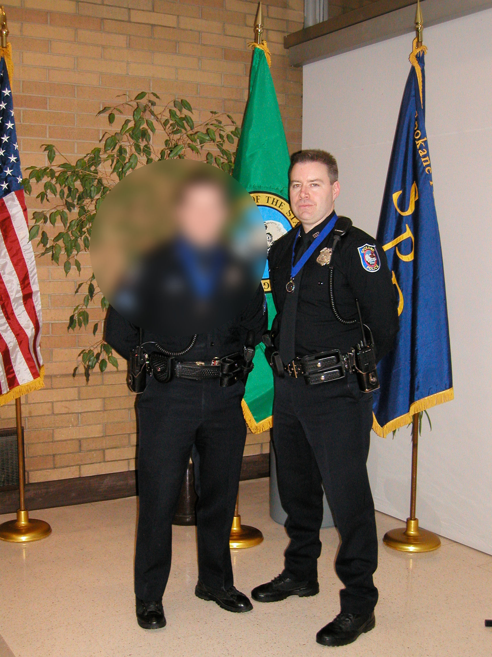 I wish I had a smiling picture of me in uniform, but this is all I've got from that time. Not sure why the guy is blurry next to me. There must have been a spot on the camera lens.