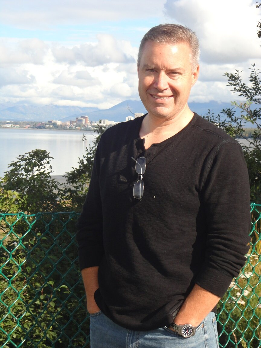 Kind of a nice laid back picture of me. That's Anchorage, AK in the background.