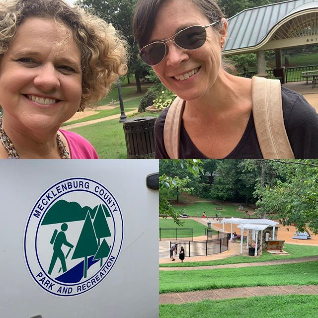 Touring Latta Park with community engagement volunteer Ruth Ann Grissom. Parks and Rec employees doing a tune up on the spray ground! Thanks to maintenance crews for keeping our parks in good shape.