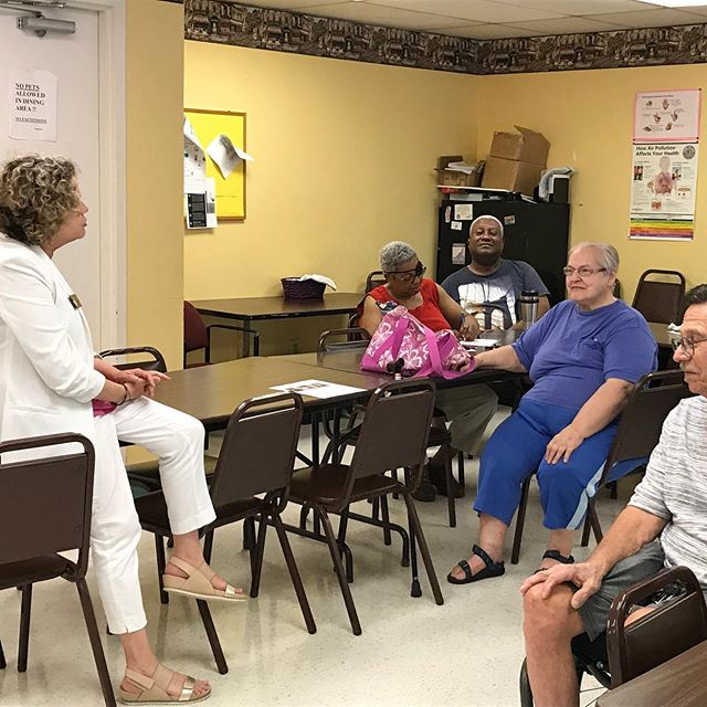 Listening to seniors at the McAlpine Terrace Apartments, the location of a Mecklenburg County Senior nutrition site. They love the staff and have concerns about transportation. Will meet with them again soon to get updates.