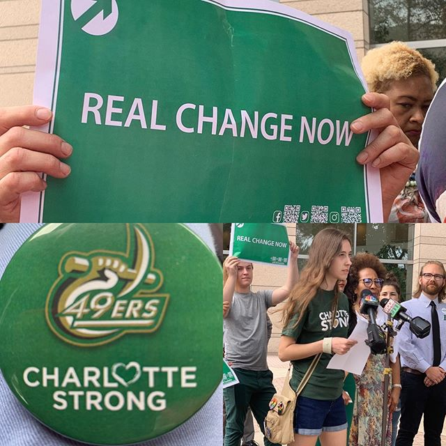 Participated in a gun violence press conference. Megan Beach, a UNC Charlotte student, spoke passionately about the need for action. We need to listen and act. #charlottestrong
