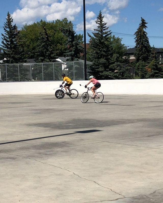 """My sis flew in for a Bike Polo Tourney! - There are so many different layers to """"culture""""... it's more than what we see or buy or buy into... there's an amalgam of ALL of our interests, as #calgarians, as #canadians, as #humans that builds up to reflect on who we are... I've been a bit MIA lately but awesome being able to take a peek at this sport! - DM me if I should be tagging you! 🤘🦄🤘 - #yycbikepolo #bikepolo"""