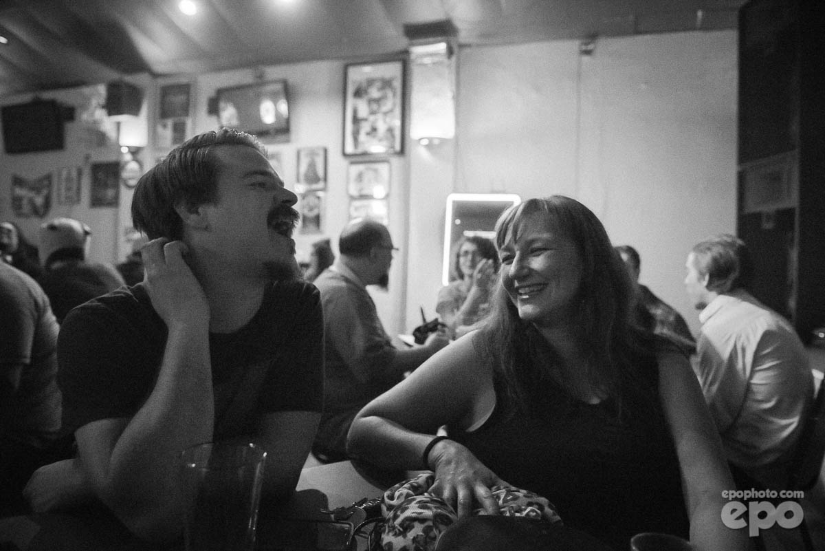 Audience members, local musician Chris Shaw and Columbus burlesque legend Becky Buxom,enjoy a laugh before the show 2017