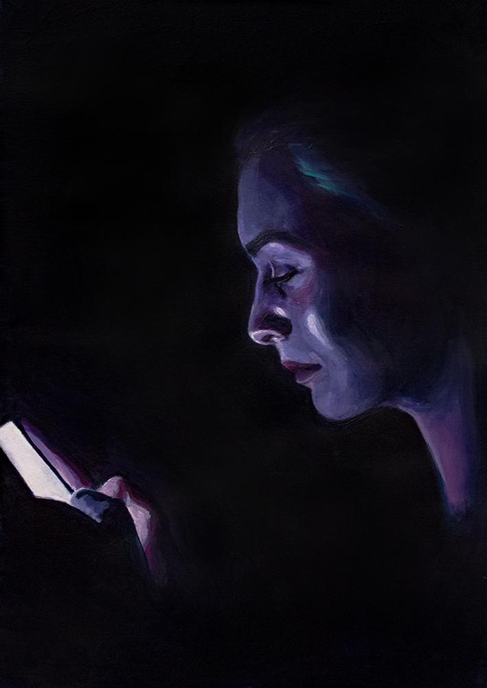 Unconnected, 2018, acrylverf op papier, 29 x 21 cm