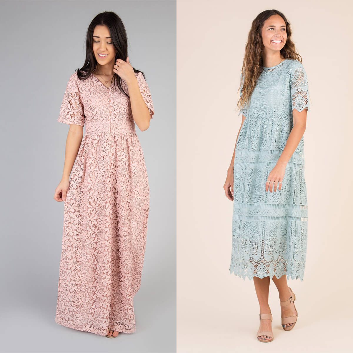 KAYLIE LACE MAXI & CONCERTO LACE DRESS:these dresses aren't necessarily unique, but as bridesmaid dresses they are! the lace designs are so perfect for spring, and you could even pull off the blue one in a summer beach wedding. - from Called to Surf