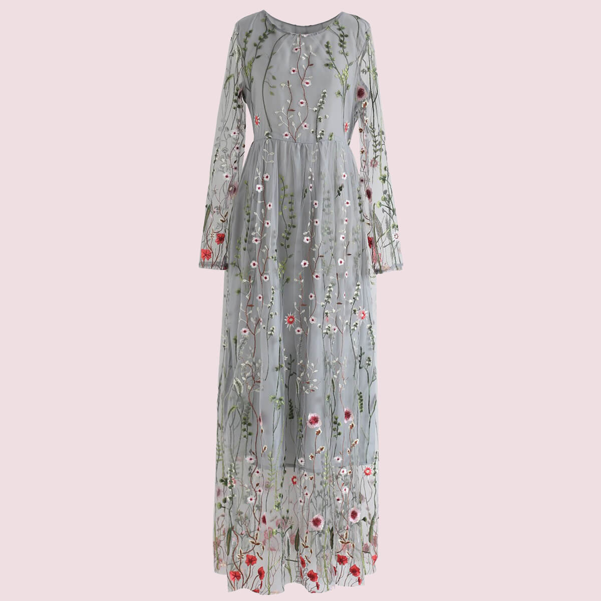 Lost in Flowering Fields Embroidered Mesh Maxi Dress: Can you get any more quirky and springy than this bridesmaid dress right here? can you imagine this with flower crowns and pink shoes? I can and I love it! - from Chichwish