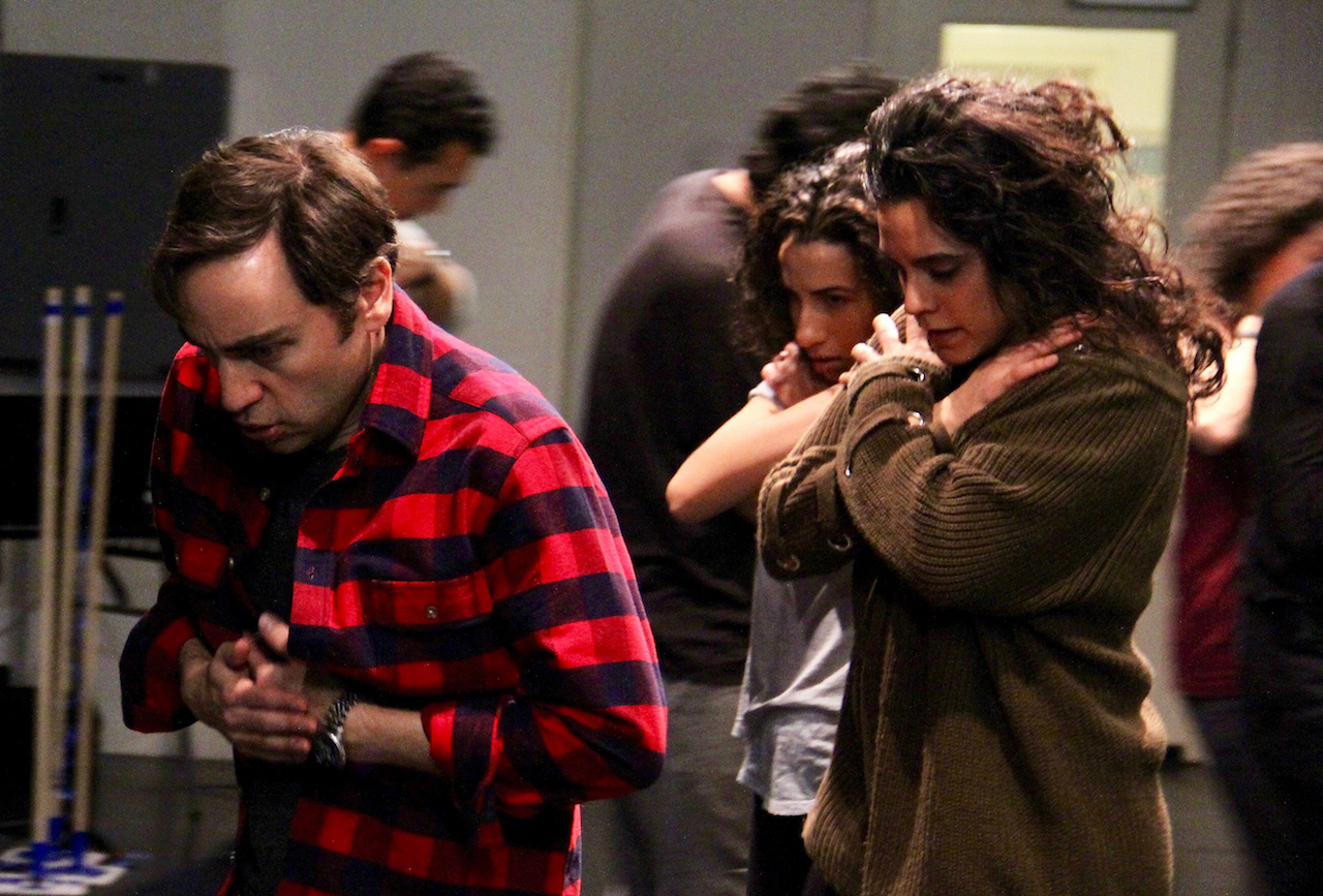 "Ben Steinfeld and Sepideh Moafi - background L. Elwazani and company, Choreography rehearsal for Prospect Theater Company's ""One Thousand Nights and One Day"", Photo Credit: Chris Milligan"