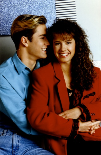 "Mark-Paul Gosselaar and Leanna Creel as ""Zack Morris"" and ""Tori Scott"" on NBC's ""Saved By The Bell"""