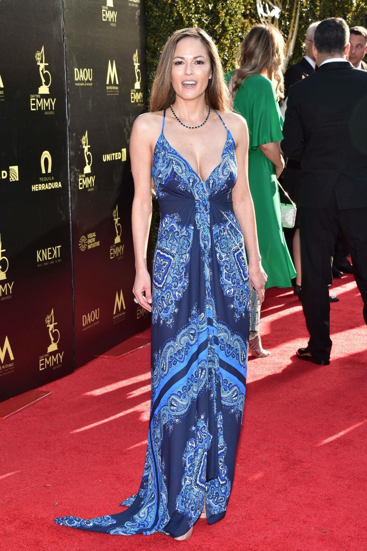 Terri Ivens at the 2018 Daytime Emmy Awards, dress by Heidi Abra