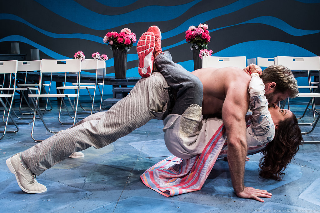 "Craig Ramsay and Sheri Sanders in ACT of Connecticut's ""Mamma Mia"", Photo Credit: Michelle Spanedda Photography"