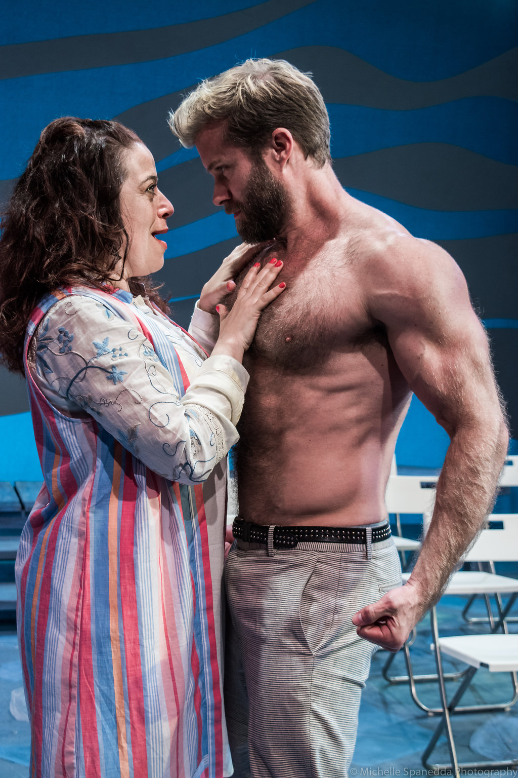 "Sheri Sanders as ""Rosie"" and Craig Ramsay as ""Bill Austin"" in ACT of Connecticut's ""Mamma Mia!"", Photo Credit: Michelle Spanedda Photography"