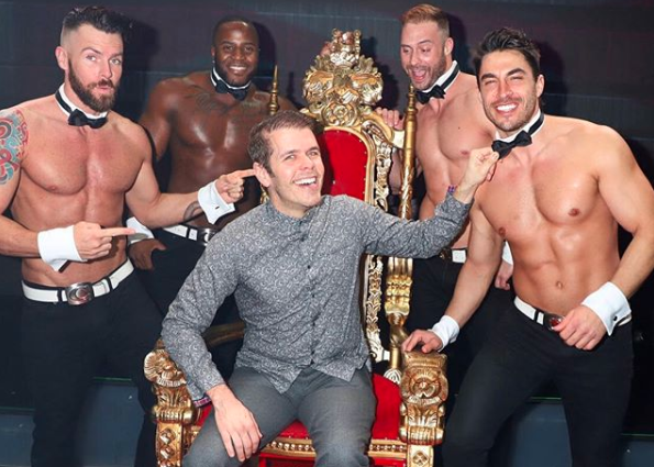 Perez Hilton and the Chippendales dancers