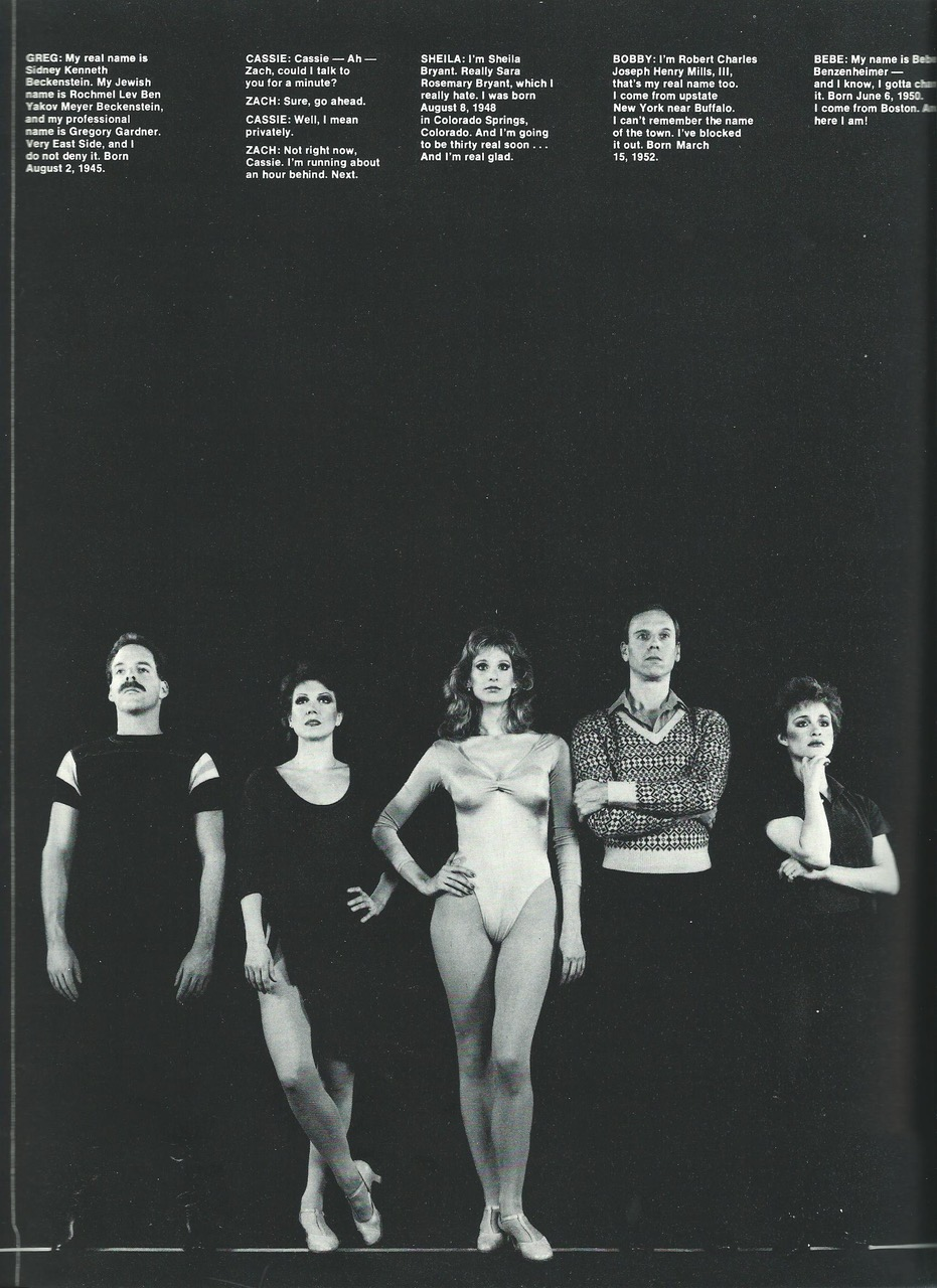 "Dr. Bradley Jones, Donna McKechnie, Cynthia Flemming, Ron Kurowski, and Tracey Shayne in the 1986 Broadway company of ""A Chorus Line"", Photo Credit: Martha Swope"