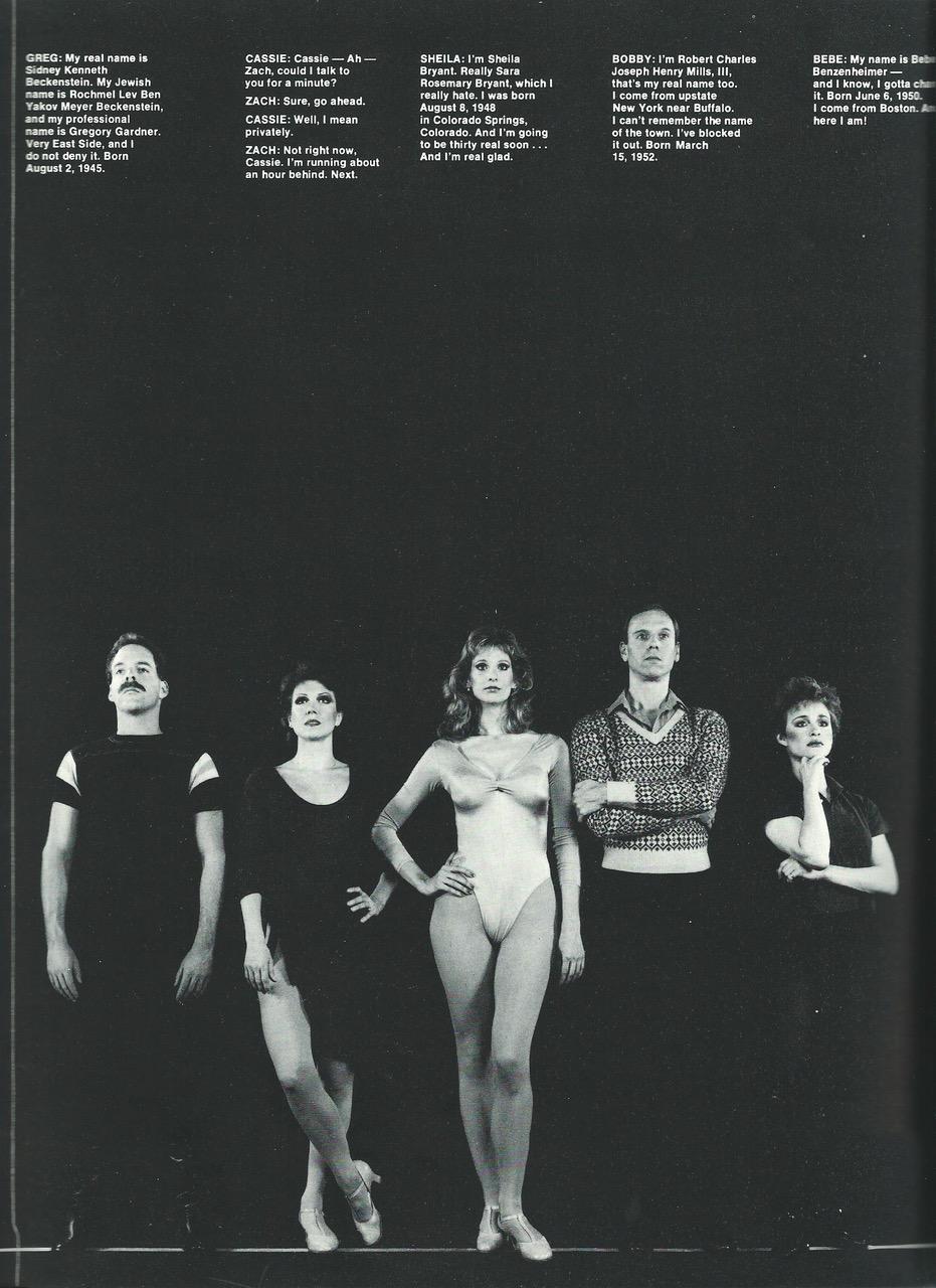 "Dr. Bradley Jones, Donna McKechnie, Cynthia Flemming,Ron Kurowski, and Tracey Shayne in the 1986 Broadway company of ""A Chorus Line"", Photo Credit:Martha Swope"