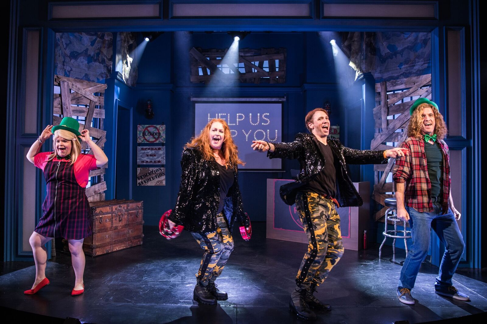 "Left to Right: Marissa Rosen, Katie Thompson, Matt Loehr, Kevin Zak in ""R.R.R.E.D. A Secret Musical"", Photo Credit: Evan Zimmerman for MurphyMade"