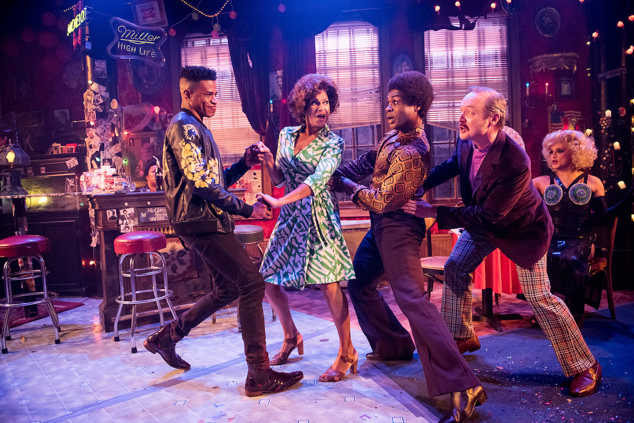 "Nathan Lee Graham, Jeremy Pope, Nancy Ticotin, Benjamin Howes in ""The View UpStairs"", Photo Credit: Kurt Sneddon"