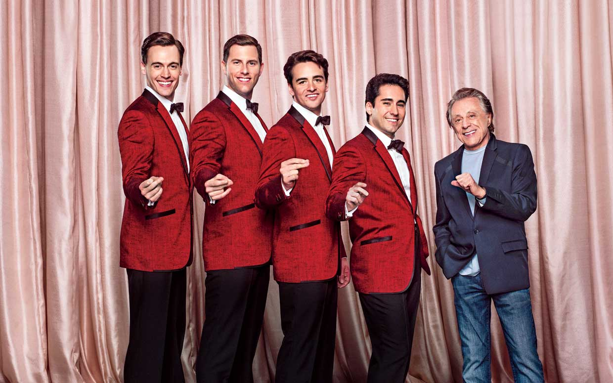 """John Lloyd Young and the cast of """"Jersey Boys"""" the film with the real Frankie Valli, Photo Credit: Ramona Rosales"""