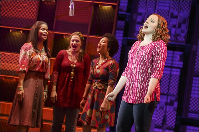 "Abby Mueller with Brittney Coleman, Sarah Bockel, and Ashley Blanchet in the National Tour of ""BEAUTIFUL - The Carole King Musical"", Photo Credit: Joan Marcus"