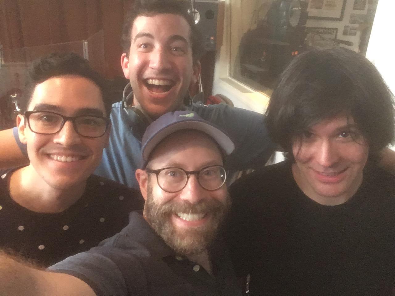 "Harrison Chad, Troy Iwata, David Zellnik, and Eric Svejcar recording Episode 5 of ""Loveville High"""
