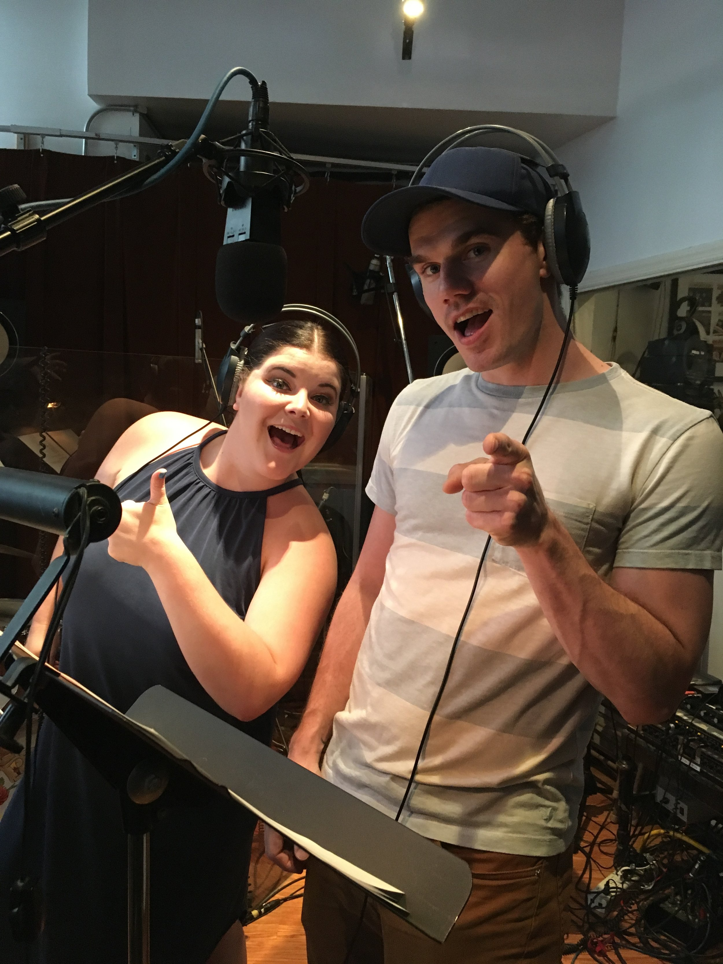 """Ryann Redmond and Jay Armstrong Johnson recording Episode 3 of """"Loveville High"""""""