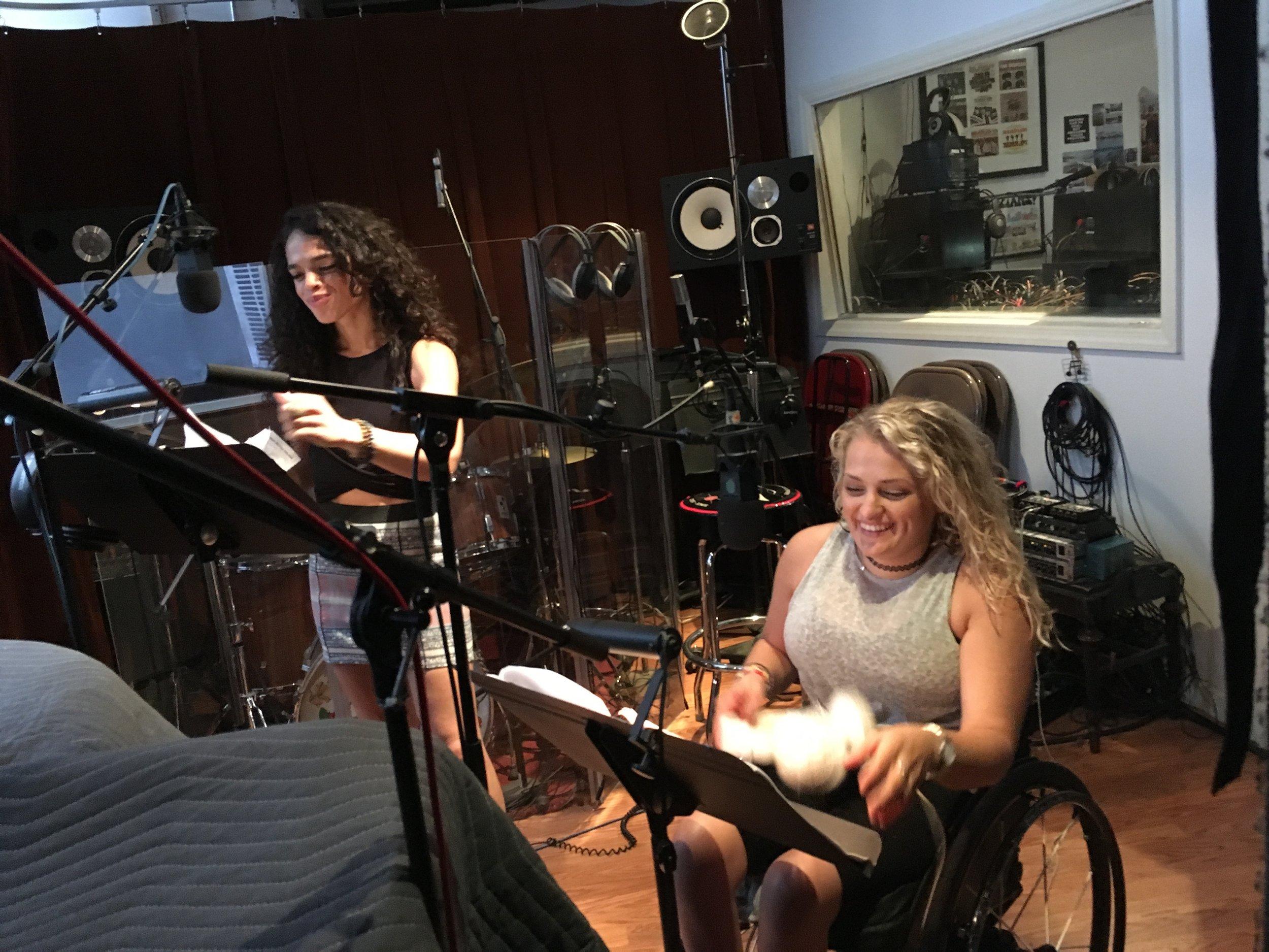 "Gizel Jiménez and Ali Stroker recording Episode 6 of ""Loveville High"""