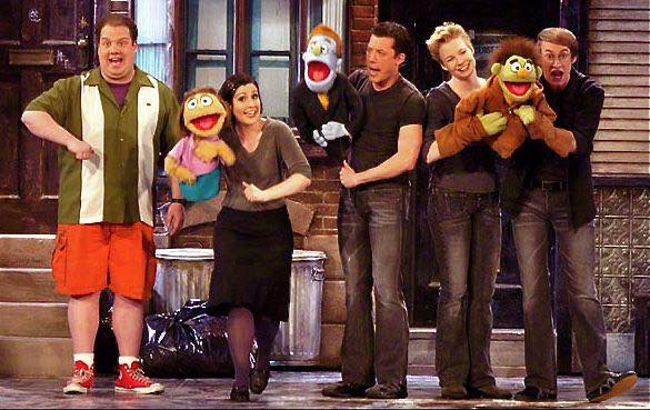 "Jordan Gelber, Stephanie D'Abruzzo, John Tartaglia, Jennifer Barnhart, and Rick Lyon in ""Avenue Q"" performing on the 2004 CBS Tony Telecast, Photographer Unknown"